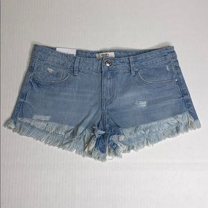Forever 21 Denim Low Rise Distressed Shorts Sz 28